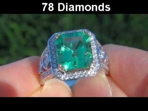 4.78 Carat Natural Vintage Estate Colombian Emerald Diamond Cocktail Ring - Muzo Mine