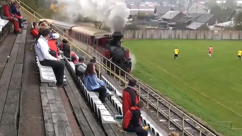 В Словакии через футбольный стадион проложена железная дорога