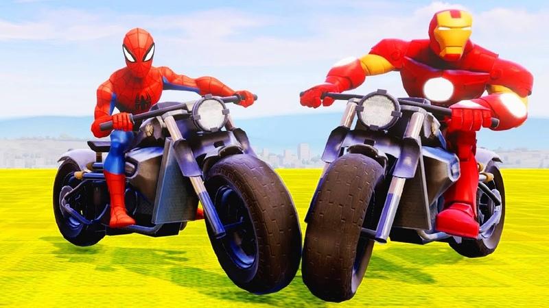 Мультики про Машинки Гонки на Мотоцикле Супергерои Человек Паук Железный Человек Мультики для Детей