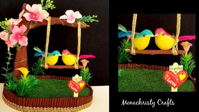 DIY bird on swing Showpiece | Valentine's day easy craft
