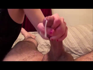 Amazing handjob makes his big cock cum hard