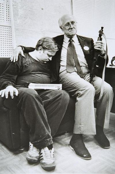 Мстислав Ростропович в Белом доме, Москва, 20 августа 1991 года.
