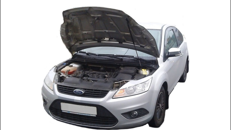 Установка газового упора капота Ford Focus 2R 1 амортизатор