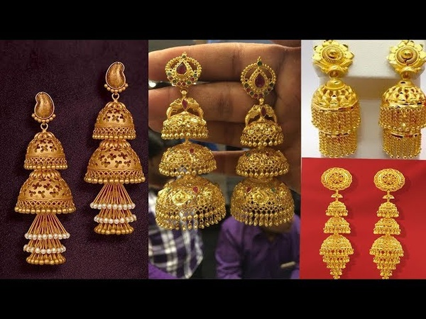 Latest gold earrings designs   gold jhumka,chandbali earrings