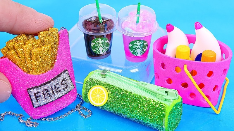 10 DIY Barbie Miniatures ~ mini Starbucks, mini French Fry Purse, Dress, and more