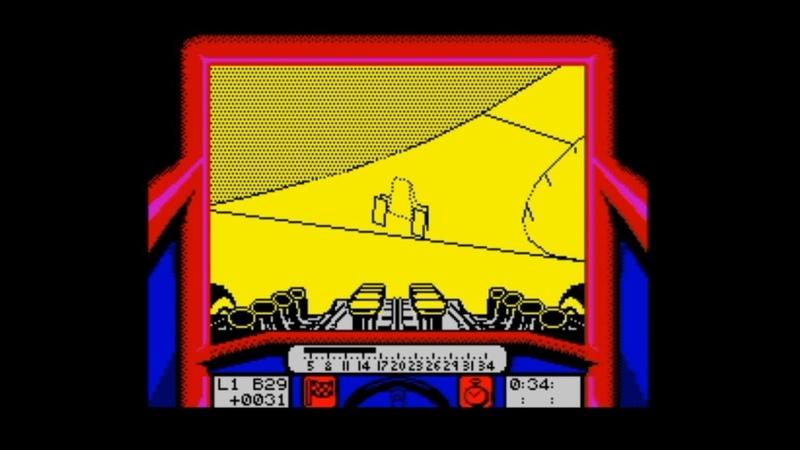 Stunt Car Racer (1989) 128k AY music version Walkthrough Review, ZX Spectrum