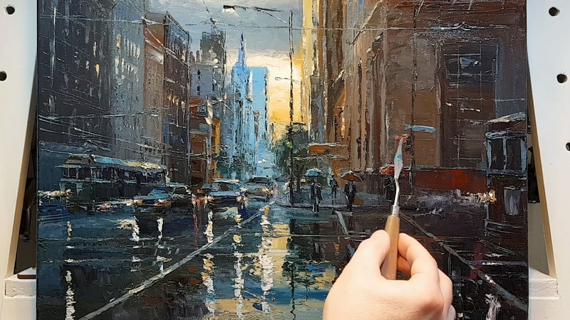 In the Rain - City - Palette Knife | Brush Oil Painting - Going Home Dusan