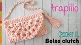 Bolso o cartera clutch tejido en crochet XL con trapillo Tejiendo Peru