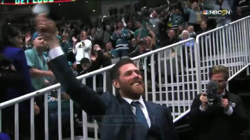 Joe Pavelski firing up the crowd at the Shark tank