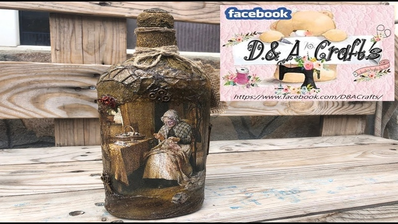 DIY How to make Grandmother decoration on a whiskey bottle TUTORIAL