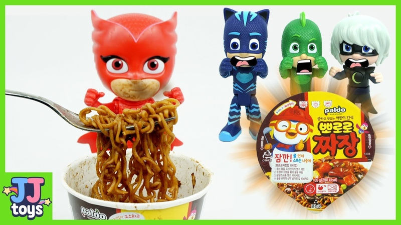 PJ Masks Owlette Secretly Eating Pororo Black Noodle [JJ toys]