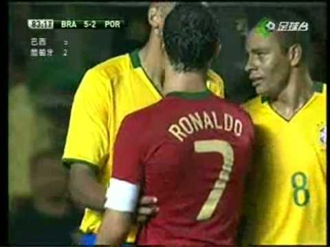 C. Ronaldo clash with Brasil's Marcelo 19-11-08