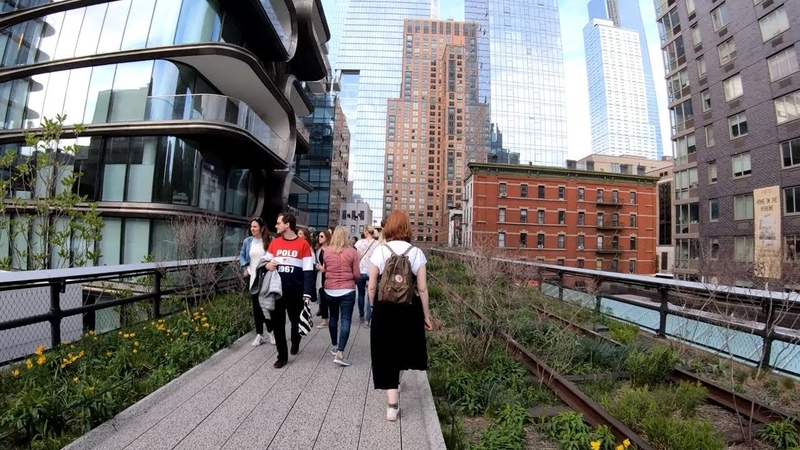 ⁴ᴷ⁶⁰ Walking NYC The High Line Elevated Park to Hudson Yards in Spring (April 23, 2019)