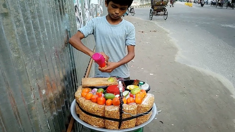 Hard Working Amazing Small Boy for Family Selling Pure Tasty Chanachur Masala @ Tk 10 Delicious Food