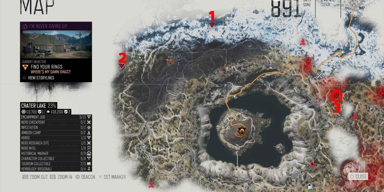 Крейтер-Лейк карта орды фриков в Days Gone