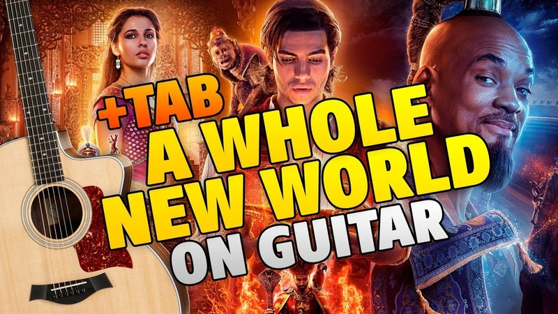 Aladdin 2019 A Whole New World fingerstyle guitar cover with tabs and karaoke lyrics
