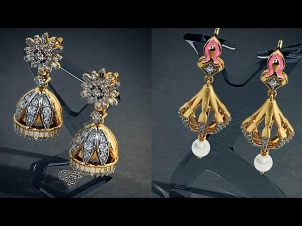 Elegant Gold Jhumka Earrings Models From Bluestone Website
