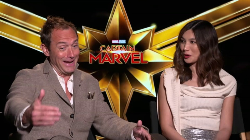 Captain Marvel co-stars Jude Law and Gemma Chan talk about making the blockbuster film