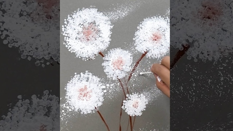 How to paint Dandelions Fast and Easy Vertical Painting Art Hacks
