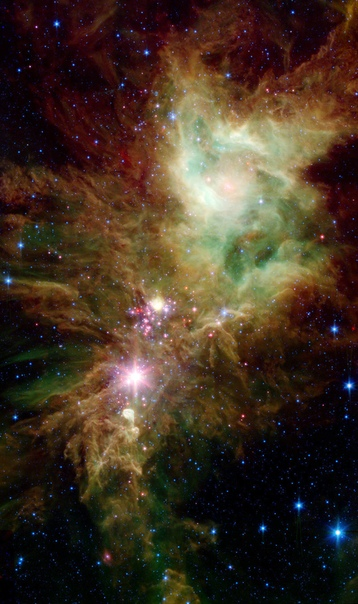 Космический телескоп «Спитцер» получил удивительное изображение скопления Рождественская елка, находящегося в созвездии Единорога