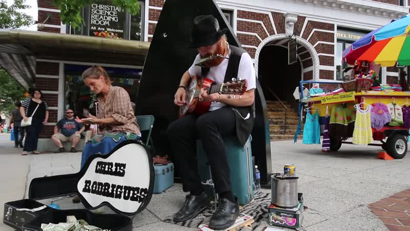 Chris Rodrigues and Abby the Spoon Lady Busking in Asheville, NC