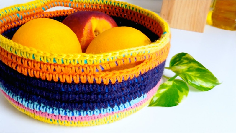 How to crochet a BASKET with t shirt yarn wool ♥ CROCHET LOVERS