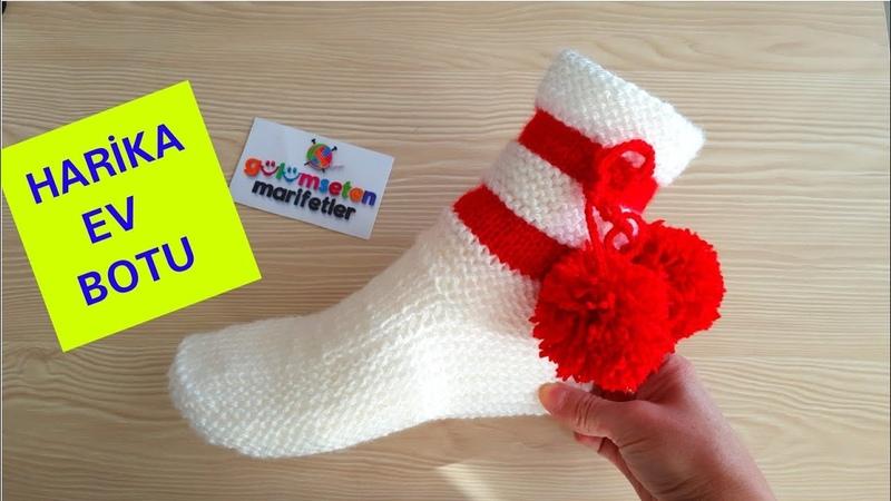 Harika kolay ev botu yapımı İki şiş ile bayan patik modelleri Yılbaşı patiği yapımı Patik çorap