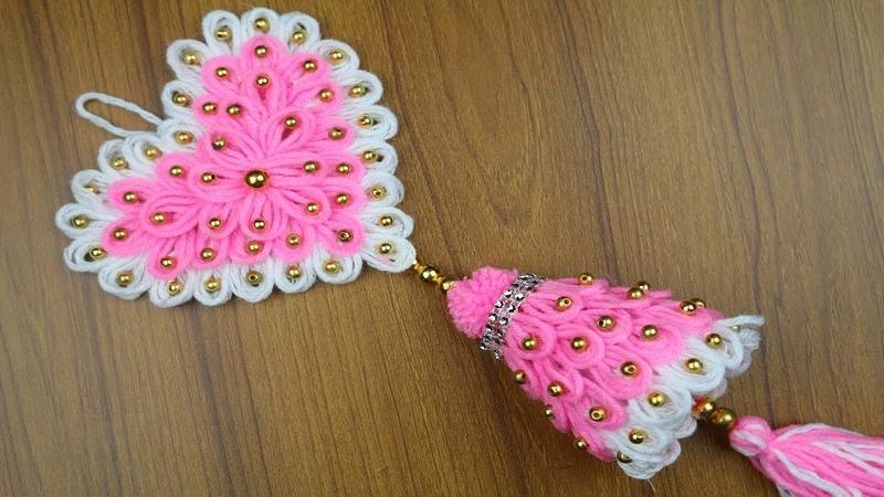 Woolen Craft ideas - How To Make Woolen Door/Wall Hanging    Best out of waste - Best reuse ideas