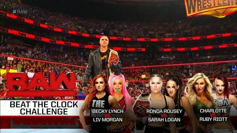 Beat The Clock Challenge Rounda Rousey Charlotte Becky WWE RAW 25 MARCH 2019 2KHD