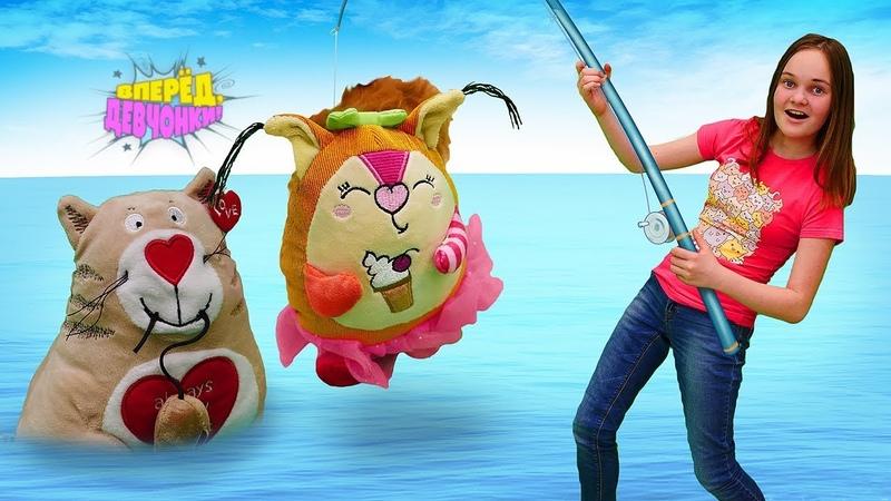 Видео для детей Огромные МЯГКИЕ ИГРУШКИ Океанариум игрушечная рыбалка и шоу морских котиков