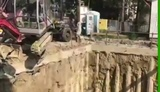Excavator brand new first day on the job gets dropped down
