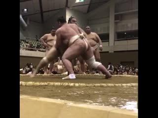 春巡業西尾市 - 幕内力士の稽古 - 魁聖-御嶽海 - 栃ノ心-魁聖 - sumo 相撲
