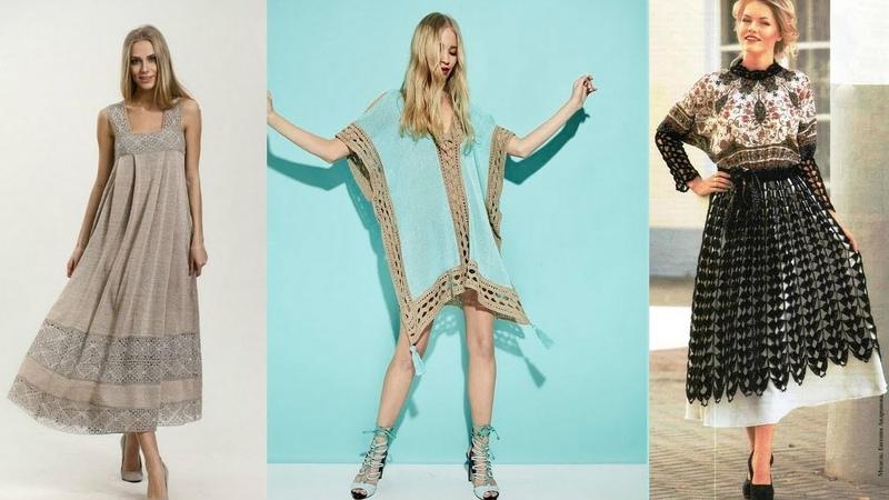 Комбинируем вязание и ткань. Изысканные модели для женщин.