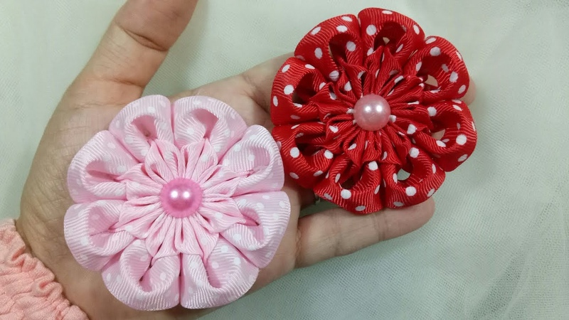 129) DIY - Tutorial || Cara Membuat Bros Kembang Goyang || How to Make Simple Kanzashi Flower