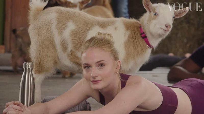 Dark Phoenix star Sophie Turner tries Goat Yoga for the first time Vogue Wellness Vogue Paris