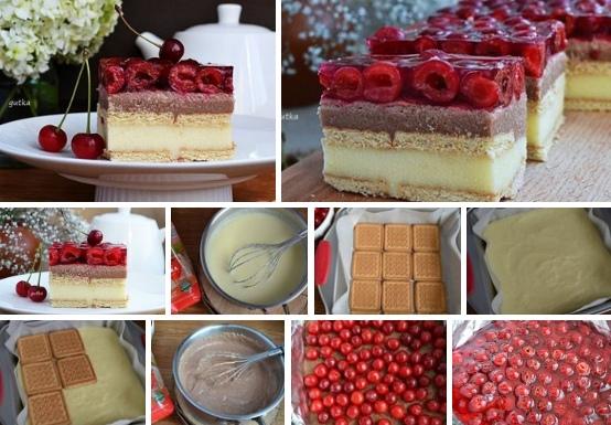 Десерт из манной каши и вишен