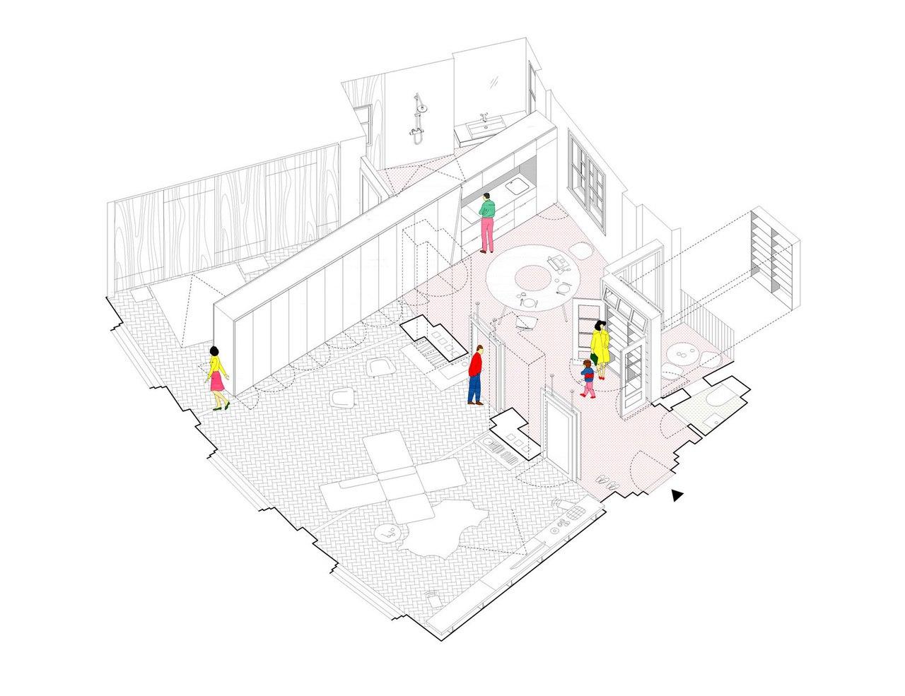 Интерьер с оригинальными архитектурными элементами.