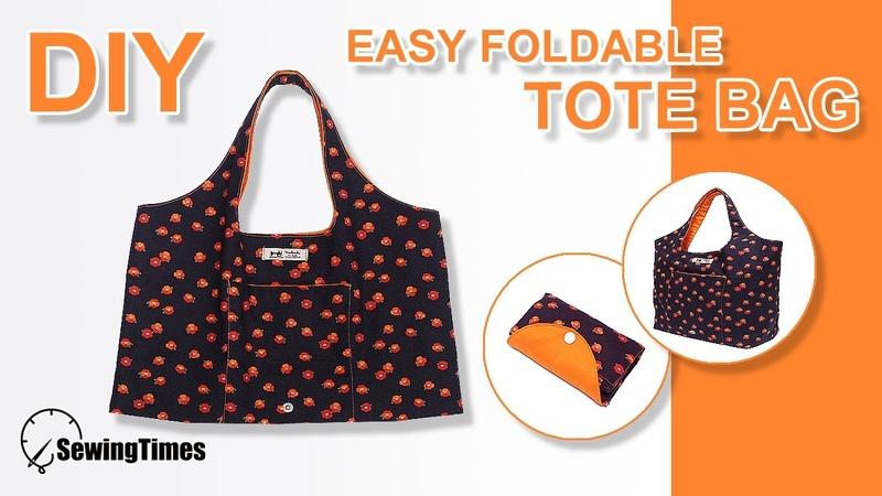 DIY Easy foldable Tote Bag 접이식 에코백 만들기 How to make shopping bag free pattern sewingtimes