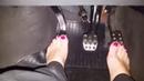 Women naked feet is draving car. 3103191416