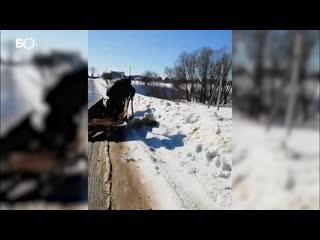 Ноу-хау из Арского района Татарстана: телега с лошадью в роли грейдера