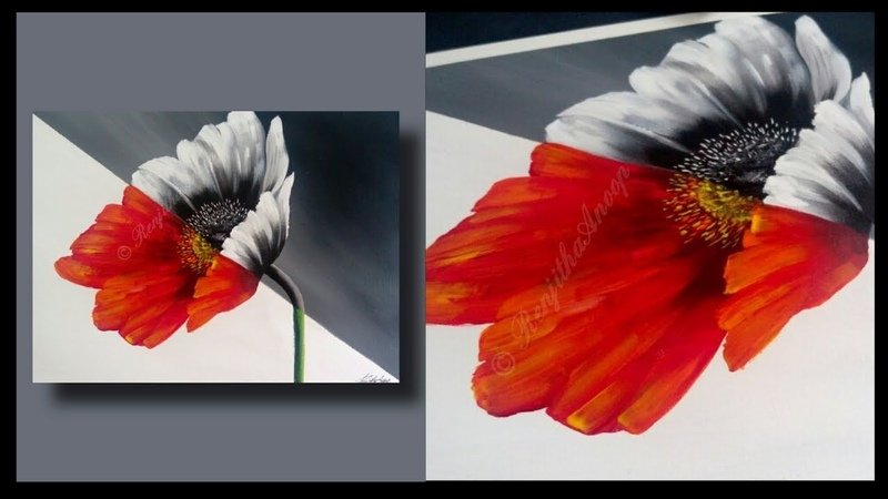 EASY Abstract Floral Painting Beginners - Painting Lessons - BLACK WHITE - TECHNIQUES - Day 027