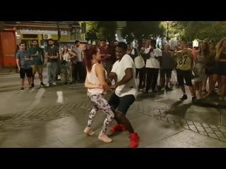 Venezolana y peruano bailando timba cubana salsa cubana madrid timbera