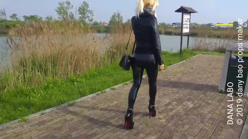 DANA LABO walking in legging and boots for fun