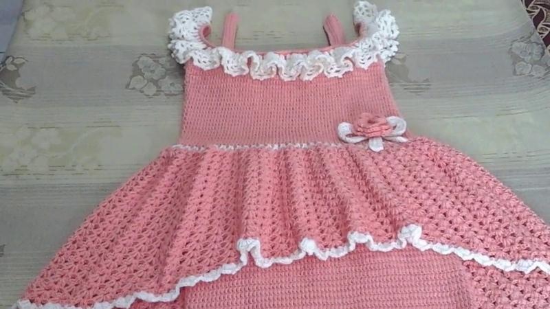 فستان بناتى كروشيه تحفة لأى مقاس