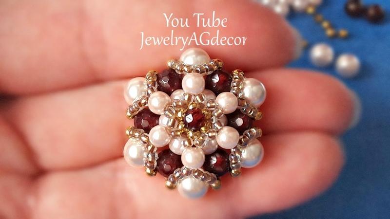 Jewelry Making Tutorial for Beaded Bracelet,Brooch,Pendant DIY Для Броши,Браслета из бисера и бусин