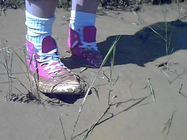 Muddy pink sneakers