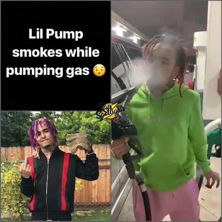 Lil Pump курит травку на заправке