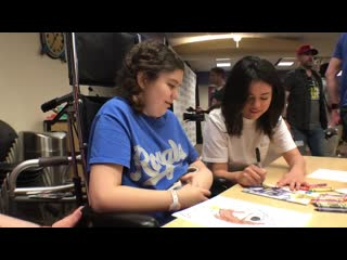 Selena Gomez meets with young patient at Childrens Mercy Hospital for Big Slick event