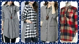 vintage linen shift dress loose fitting casual dresscurved collar plaid check lining casual shirts