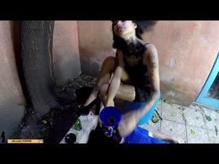 Girls fetish brazil - extreme humiliation - toilet slave spitting and dirty mud femdom